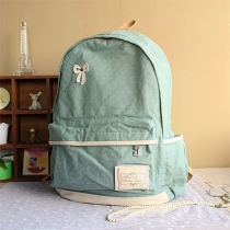 Leisure Polka-dot Print Contrast Color Bowknot Canvas Backpack