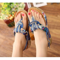 Bohemia Style Bling Colorful Thick-sole Rhinestone Thong Sandal