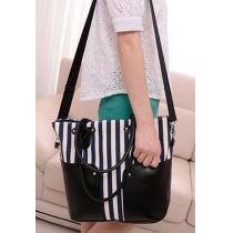 Casual Vertical Stripes Splicing Large Size Shoulder Bag Handbag Purse
