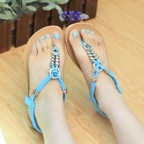 Boho Metal Hardware Elastic Flat Summer Thong Sandal