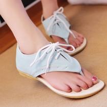 Sweet Girl Eyelet Lace Up Low Heel Thong Sandal