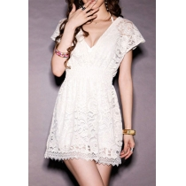 Low Cut V Neck Crochet Lace Stretchy Short Sleeve Dress