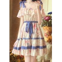 omance Floral Print Stretchy Bowknot Flared Slip Dress