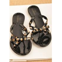 Gold Tone Metallic Rivets Bowknot Flat Thong Sandal