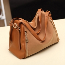 European Style Retro Pure Color Zip Handbag Shoulder Bag
