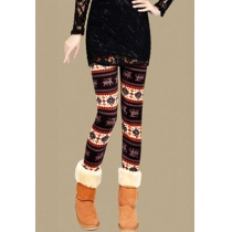 Leisure Chic Eye-catching Maple Print Leggings
