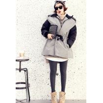 Trendsetting Cool Mixing Color Sash Hood Fake Two-piece Warm Coat