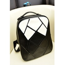 Street-chic Splicing Contrast Colors Preppy Fashion Students Backpack