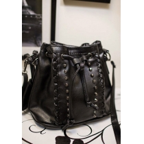 Punk Cool Studded Rivets Drawstring Black Crossbody Bucket Bag Satchel