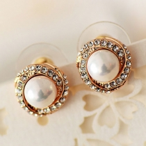 Elegant Rhinestone Red & White Pearl Stud Earrings
