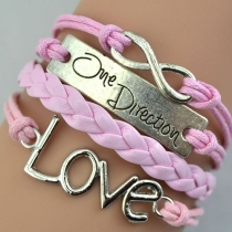 One Direction Love Pendant Layered Candy Color Bracelet