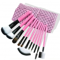 Beauty 11 pcs Makeup Comestic Brush Set with Plaid Pink Pouch