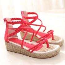 Roman Style Crisscross Strap Braided Platform Thong Sandal