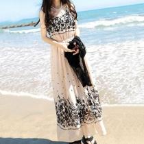 Floral Print High Waisted Beach Maxi Tank Dress Sundress