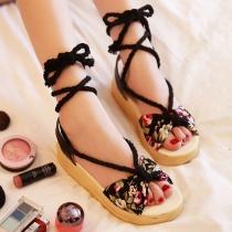 Floral Print Criss Cross Lace Up Flatform Sandals