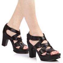 Black Peep Toe Criss Cross Strap Block Heel Platform Sandal