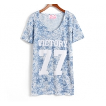 Leisure Loose Fitting  Number & Letter Print T-shirt for Sisters