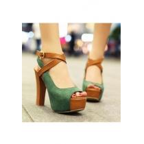 European Style Peep-toe Green Cross Strap High-heeled Shoes