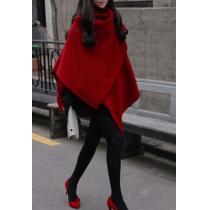 Latest Trendsetting Gorgeous Elegant Irregular Red Worsted Cloak Coat