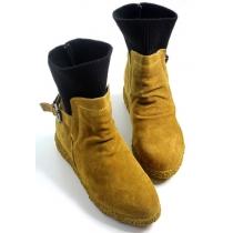 Stylish Woolen Spliced Strap Buckle Booties