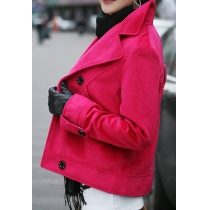 Bling Candy Color Lapel Double Breast Tweed Coat