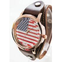 Stylish Unique Contrast Color American Flag Print Watch
