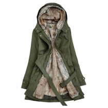 Trendsetting Stylish Detachable Flocky Lining Hood Warm Trench Coat