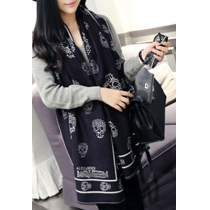 Punk Style Sweet Unique Skull Print Mixing Color Scarf