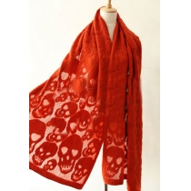 Cool Stylish Punk Style Solid Color Skull Embossed Scarf