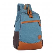 Retro British Contrast Color Patch Zip Backpack Schoolbag Bag