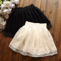 Sweet Layered Floral Crochet Lace Flared Tulle Mini Skirt