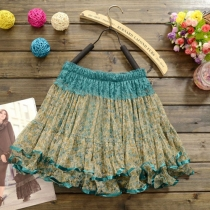 Sweet Mixed Color Floral Print Elastic Pleated Bubble Lace Skirt