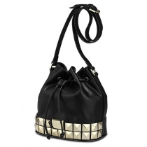 Metallic Panel Rivets Black Drawstring Bucket Shoulder Bag