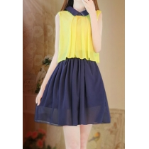 Contrast Color Sweet Peter Pan Collar Pleated Tank Dress