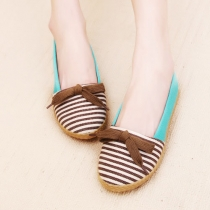 Contrast Color Stripe Casual Flats Slip On Shoes Loafer