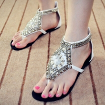 Roman Style Spiked Rivets Beaded Flat Thong Sandal