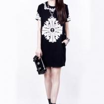 Vintage Cross Print Short Sleeve Black Shift Dress