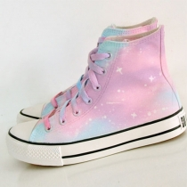 Candy Color Hand Painting High Top Canvas Sneaker