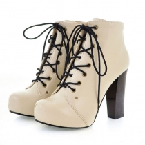 British Style Elegant Pure Color Lace-up High-heeled Booties
