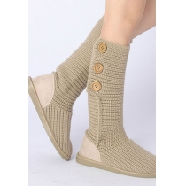 Stylish Chic Retro Pure Color Button Warm Woolen Knit Boots