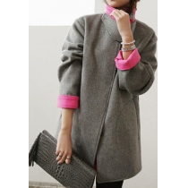 Elegance Chic Thick Contrast Colors Stand Collar Versatile Loose Coat