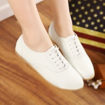 Vintage Pink White Lace Up Oxford Shoes Casual Flats