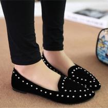 Stylish Point Toe Studded Rivets Slip On Loafer Slipper