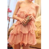 Bridesmaid Layered One Shoulder Pink Ruffled Mini Dress