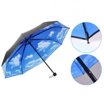 Blue Sky White Clouds Print Folding Umbrella for UV / Rain Protection