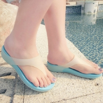 Candy Color Wedge Heel Flip Flops Thong Sandal