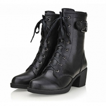 European Style Pure Color Zip Lace-up Boots