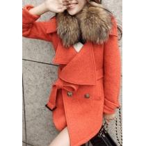 Elegant Gorgeous Spliced Lapel Double Breast Tweed Coat