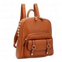 Retro Punk Style Rivet Solid Color Backpack Bag