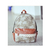 Sweet Country Style Contrast Color Floral Print Crochet Lace Backpack